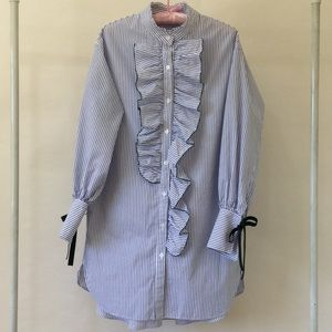 Dresses & Skirts - Striped Ruffle Front Cotton Shirtdress